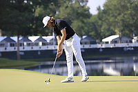 Tommy Fleetwood (ENG) putts on the 14th green during Thursday's Round 1 of the 2017 PGA Championship held at Quail Hollow Golf Club, Charlotte, North Carolina, USA. 10th August 2017.<br /> Picture: Eoin Clarke | Golffile<br /> <br /> <br /> All photos usage must carry mandatory copyright credit (&copy; Golffile | Eoin Clarke)