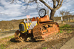 Allis-Chalmers TD9 crawler tractor repurposed as a mailbox, Lake County, Calif.