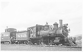 3/4 engineer's-side view of D&amp;RGW #278 and caboose #0574 at Gunnison.<br /> D&amp;RGW