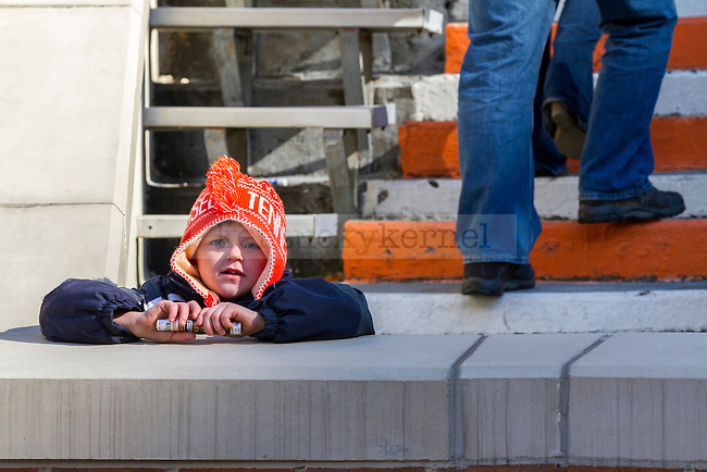 A young Tennessee Volunteer fan waits for the UT mascot, Smokey, before the game against Kentucky Saturday afternoon in Knoxville, Tn., on Saturday, November, 24, 2012. Photo by James Holt | Staff