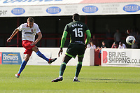 Will Wright of Dagenham and Redbridge with a shot during Dagenham & Redbridge vs Hartlepool United, Vanarama National League Football at the Chigwell Construction Stadium on 14th September 2019
