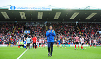 Lincoln City manager Danny Cowley applauds the fans before kick off<br /> <br /> Photographer Chris Vaughan/CameraSport<br /> <br /> The EFL Sky Bet League Two - Lincoln City v Chesterfield - Saturday 7th October 2017 - Sincil Bank - Lincoln<br /> <br /> World Copyright &copy; 2017 CameraSport. All rights reserved. 43 Linden Ave. Countesthorpe. Leicester. England. LE8 5PG - Tel: +44 (0) 116 277 4147 - admin@camerasport.com - www.camerasport.com