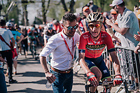 Enrico Gasparotto (ITA/Bahrain-Merida) helped after finishing by none less then Joaquim Rodríguez aka 'Purito'<br /> <br /> 82nd Flèche Wallonne 2018 (1.UWT)<br /> 1 Day Race: Seraing - Huy (198km)