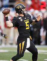 Arkansas Democrat-Gazette/THOMAS METTHE -- 11/29/2019 --<br /> Missouri quarterback Taylor Powell (5) throws a pass during the third quarter of the Razorbacks' 24-14 loss to Missouri on Friday, Nov. 29, 2019, at War Memorial Stadium in Little Rock.