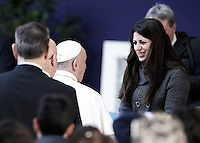 Pope Francis greets Syrian refugee Nour Essa during his visit to Roma Tre University in Rome, Italy, 17 February 2017. Nour Essa is one of the refugees arrived in Rome with Pope Francis after his visit from the Greek island of Lesbos. <br /> UPDATE IMAGES PRESS/Isabella Bonotto-POOL<br /> STRICTLY ONLY FOR EDITORIAL USE