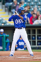 Oklahoma City Dodgers second baseman Darnell Sweeney (9) steps to the plate against the Nashville Sounds at Chickasaw Bricktown Ballpark on April 15, 2015 in Oklahoma City, Oklahoma. Oklahoma City won 6-5. (William Purnell/Four Seam Images)