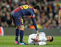 FC Barcelona's Sergio Busquets (l) and Real Madrid's Cristiano Ronaldo during Copa del Rey - King's Cup semifinal second match.February 26,2013. (ALTERPHOTOS/Acero) /NortePhoto