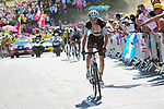 Romain Bardet (FRA) AG2R La Mondiale climbs Alpe d'Huez  during Stage 12 of the 2018 Tour de France running 175.5km from Bourg-Saint-Maurice les Arcs to Alpe D'Huez, France. 19th July 2018. <br /> Picture: ASO/Alex Broadway | Cyclefile<br /> All photos usage must carry mandatory copyright credit (&copy; Cyclefile | ASO/Alex Broadway)