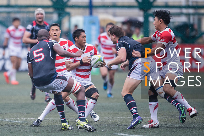 Takuya Yamasawa of Japan (C) in action during the Asia Rugby Championship 2017 match between Hong Kong and Japan on May 13, 2017 in Hong Kong, China. Photo by Marcio Rodrigo Machado / Power Sport Images