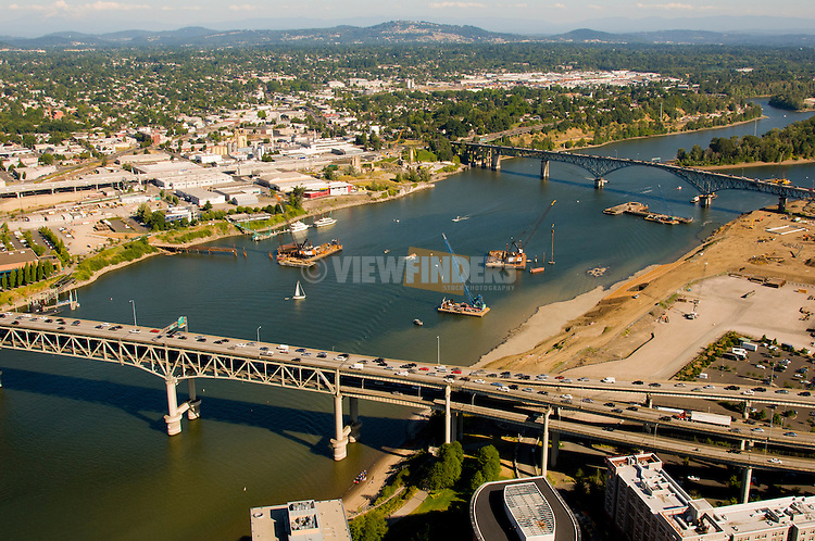 Early Stages of Portland-Milwaukie Lightrail (PMLR) Bridge Construction