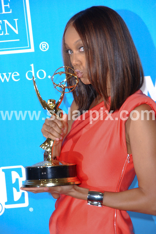 **ALL ROUND PICTURES FROM SOLARPIX.COM**.**SYNDICATION RIGHTS FOR UK, AUSTRALIA, DENMARK, PORTUGAL, S. AFRICA, SPAIN & DUBAI (U.A.E) ONLY**.Tyra Banks in the Press Room at the 36th Annual Daytime Emmy Awards. Held at the Orpheum Theatre, Los Angeles, CA. USA. 30 August 2009..This pic: Tyra Banks..JOB REF: 9829 PHZ (Ortega)   DATE: 30_08_2009.**MUST CREDIT SOLARPIX.COM OR DOUBLE FEE WILL BE CHARGED**.**MUST NOTIFY SOLARPIX OF ONLINE USAGE**.**CALL US ON: +34 952 811 768 or LOW RATE FROM UK 0844 617 7637**