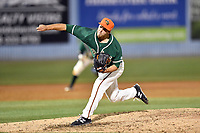 Greensboro Grasshoppers pitcher Michael Mertz (27) delivers a pitch during a game against the Asheville Tourists at McCormick Field on April 28, 2017 in Asheville, North Carolina. The Grasshoppers defeated the Tourists 3-2. (Tony Farlow/Four Seam Images)