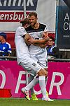 01.08.2020, C-Team Arena, Ravensburg, GER, WFV-Pokal, FV Ravensburg vs SSV Ulm 1846 Fussball, <br /> DFL REGULATIONS PROHIBIT ANY USE OF PHOTOGRAPHS AS IMAGE SEQUENCES AND/OR QUASI-VIDEO, <br /> im Bild Torjubel, Vinko Sapina (Ulm, #22) und Torschütze Johannes Reichert (Ulm, #5)<br /> <br /> Foto © nordphoto / Hafner