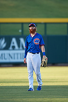 AZL Cubs 2 left fielder Grayson Byrd (78) warms up between innings of an Arizona League game against the AZL Dbacks on June 25, 2019 at Sloan Park in Mesa, Arizona. AZL Cubs 2 defeated the AZL Dbacks 4-0. (Zachary Lucy/Four Seam Images)