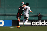 09 April 2016: DC United's Bobby Boswell (left) and Vancouver's Masato Kudo (JPN) (9) challenge for a header. DC United hosted the Vancouver Whitecaps FC at RFK Stadium in Washington, DC in a 2016 Major League Soccer regular season game. DC United won the match 4-0.