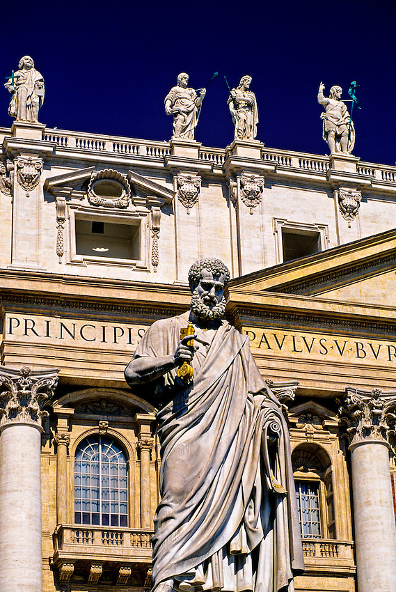 Statue of St. Peter (with the keys to the kingdom of Heaven), Piazza San Pietro, St. Peter's (Basilica di San Pietro), Vatican, Rome, Italy