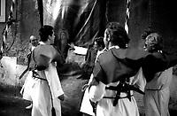 Roma  Luglio 1999.Venerabile Arciconfraternita Di Maria Ss. Del Carmine In Trastevere a Roma fondata nell' anno 1538..<br /> Preparativi per la  processione.<br /> http://www.arciconfraternitadelcarmine.it/