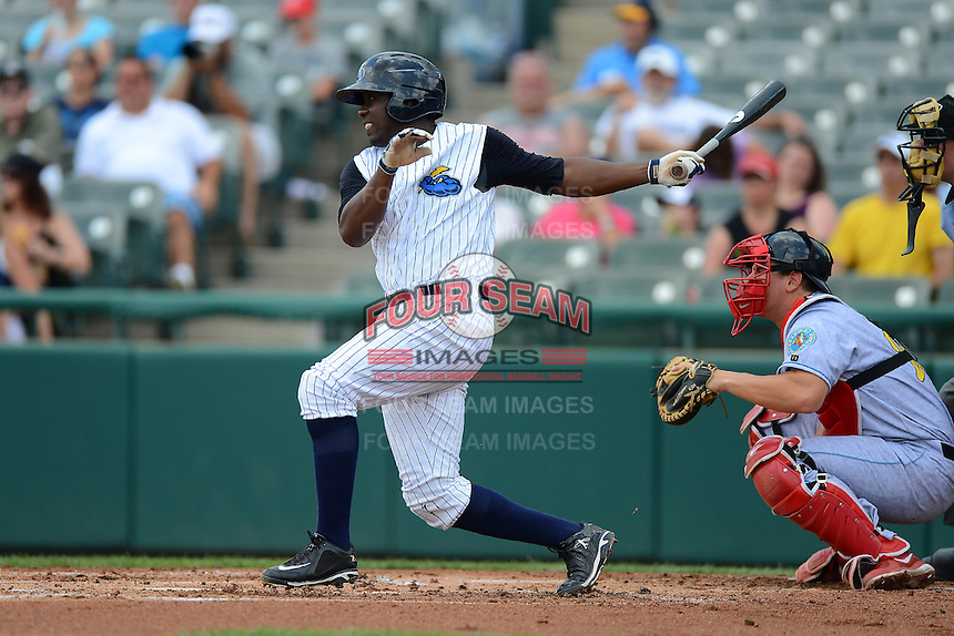 Trenton Thunder second baseman Jose Pirela #28 during a game against the Reading Fightin Phils on July 8, 2013 at Arm & Hammer Park in Trenton, New Jersey.  Trenton defeated Reading 10-6.  (Mike Janes/Four Seam Images)