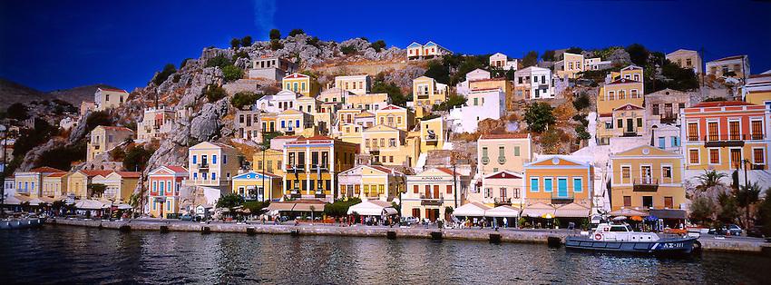 Along the harbor, Yialos, island of Symi, Dodecanese, Greece