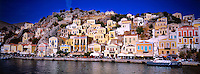 Along the harbor, Yialos, island of Symi, Dodecanese, Greece