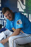 Myrtle Beach Pelicans pitcher Trevor Clifton (29) in the dugout during a game against the Salem Red Sox at Ticketreturn.com Field at Pelicans Ballpark on April 10, 2016 in Myrtle Beach, South Carolina. Salem defeated Myrtle Beach 4-3. (Robert Gurganus/Four Seam Images)