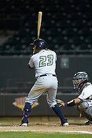 Jonathan Laureano (23) of the Lynchburg Hillcats at bat against the Winston-Salem Dash at BB&T Ballpark on May 9, 2019 in Winston-Salem, North Carolina. The Dash defeated the Hillcats 4-1. (Brian Westerholt/Four Seam Images)