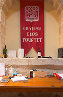 Desk in the vat hall. Chateau Clos Fourtet, Saint Emilion, Bordeaux, France