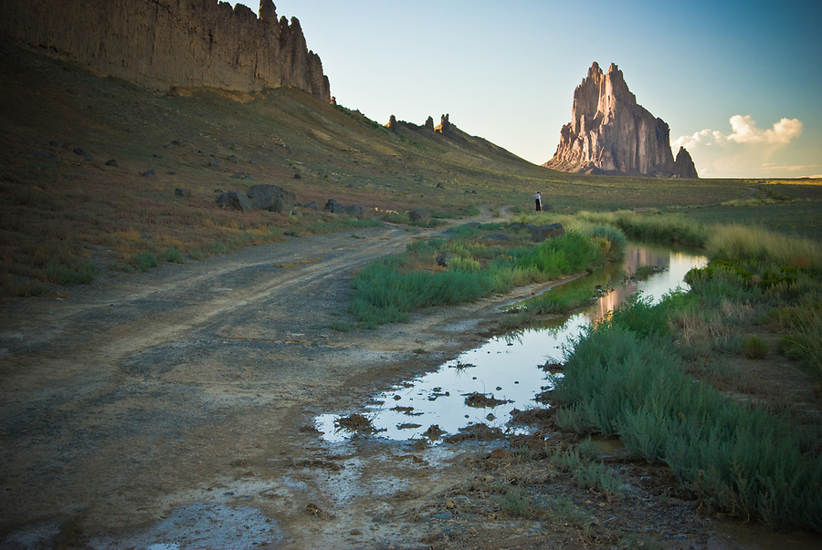 Landscape featuring Shiprock peak in New Mexico, USA.