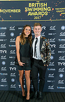 Picture by Allan McKenzie/SWpix.com - 04/11/17 - Swimming - British Swimming Awards 2017 - The Poiint, Lancashire County Cricket Ground, Manchester, England - Red carpet, guests, Lois Toulson & Jack Laugher.
