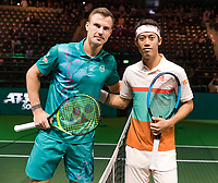 Rotterdam, The Netherlands, 14 Februari 2019, ABNAMRO World Tennis Tournament, Ahoy, quarter final, Kei Nishikori (JPN) - Marton Fucsovics (HUN),<br /> Photo: www.tennisimages.com/Henk Koster