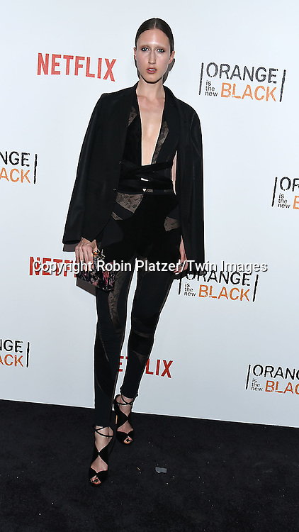 model Anna Cleveland  attend NexFlix's &quot;Orange is the New Black&quot; 4th Season New York Premiereon June 16, 2016 at the SVA Theatre in New York City, NY, USA.<br /> <br /> photo by Robin Platzer/Twin Images<br />  <br /> phone number 212-935-0770