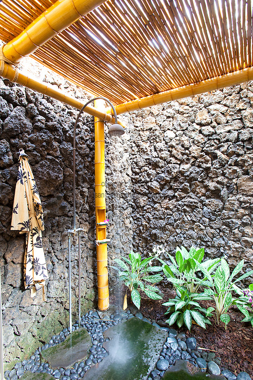 The Four Seasons Resort Hualalai at Historic Kaupulehu on the Big Island of Hawaii. Some rooms feature lovely outdoor showers.