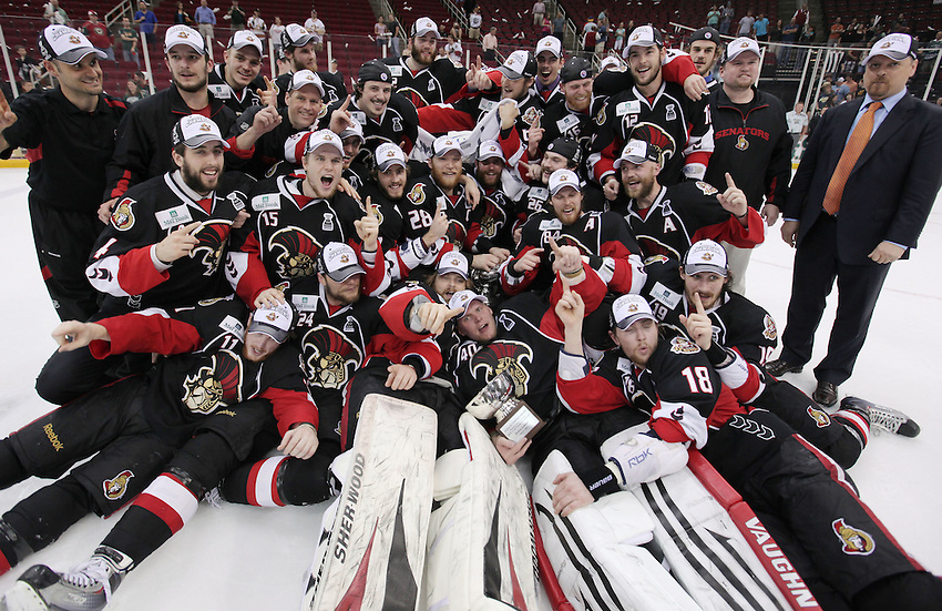 The Binghamton Senators celebrate the win of game six of the AHL Calder Cup Finals, Tuesday, June 7, 2011, in Houston. Binghamton won 3-2 to win the championship. (Darren Abate/pressphotointl.com/AHL)