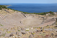 Hellenistic theatre, 3rd century BC, at Assos, Turkey. The theatre is South of the agora, facing the Aegean Sea and the island of Lesbos and was built to hold 5000 spectators. The city was founded from 1000 to 900 BC by Aeolian colonists from Lesbos. Aristotle (joined by Xenocrates) went to Assos, where he was welcomed by King Hermias, and opened an Academy in this city, where he led an influential group of philosophers. Picture by Manuel Cohen