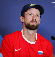 2nd January 2020; RAC Arena , Perth, Western Australia, Australia; ATP Cup Team Press conferences, Spain; Konstantin Kravchuk of Russia speaks to the press  at the team press conferences - Editorial Use