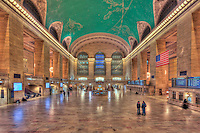 The main concourse of historic Grand Central Terminal looking east from Vanderbilt Avenue toward the new Apple Store on the east balcony.  Grand Central Terminal is located in New York City, New York, USA