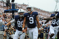 17 September 2016:  Penn State TE Mike Gesicki (88) celebrates with QB Trace McSorley (9) after a touchdown. The Penn State Nittany Lions defeated the Temple Owls 34-27 at Beaver Stadium in State College, PA. (Photo by Randy Litzinger/Icon Sportswire)