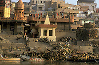 India, Uttar Pradesh, Varanasi, Ganges River, ghats & funeral pyre wood