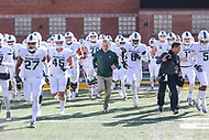 College Park, MD - November 3, 2018:  Michigan State Spartans head coach Mark Dantonio runs out before the game between Michigan St. and Maryland at  Capital One Field at Maryland Stadium in College Park, MD.  (Photo by Elliott Brown/Media Images International)