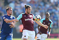 West Ham United's Andy Carroll and Leicester City's Christian Fuchs<br /> <br /> Photographer Rob Newell/CameraSport<br /> <br /> The Premier League - Leicester City v West Ham United - Saturday 5th May 2018 - King Power Stadium - Leicester<br /> <br /> World Copyright &copy; 2018 CameraSport. All rights reserved. 43 Linden Ave. Countesthorpe. Leicester. England. LE8 5PG - Tel: +44 (0) 116 277 4147 - admin@camerasport.com - www.camerasport.com