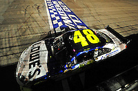 Aug 31, 2008; Fontana, CA, USA; NASCAR Sprint Cup Series driver Jimmie Johnson after winning the Pepsi 500 at Auto Club Speedway. Mandatory Credit: Mark J. Rebilas-