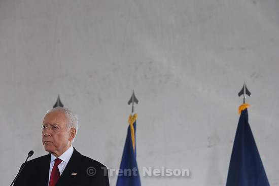 Trent Nelson  |  The Salt Lake Tribune.Senator Orrin Hatch at the groundbreaking ceremony for the NSA's Utah Data Center at Camp Williams, Thursday, January 6, 2011. The cybersecurity facility is expected be completed and open October 2013.