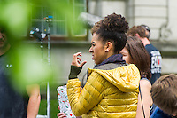CARDIFF, UK. 23rd June 2016. Doctor Who filming commences in a Cardiff University building. Pearl Mackie who plays new companion Bill is seen on a snow-covered set.
