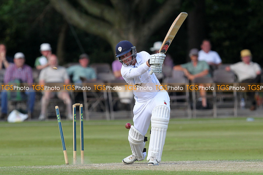 Gareth Cross of Derbyshire is bowled out by Reece Topley - Derbyshire CCC vs Essex CCC - LV County Championship Division Two Cricket at Queen's Park, Chesterfield - 09/07/14 - MANDATORY CREDIT: Gavin Ellis/TGSPHOTO - Self billing applies where appropriate - 0845 094 6026 - contact@tgsphoto.co.uk - NO UNPAID USE