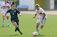 20180305 - LARNACA , CYPRUS : Swiss Melanie Muller (right) pictured in a duel with Welsh Angharad James (r) during a women's soccer game between Switzerland and Wales , on monday 5 March 2018 at GSZ Stadium in Larnaca , Cyprus . This is the third game in group A for Switzerland and Wales during the Cyprus Womens Cup , a prestigious women soccer tournament as a preparation on the World Cup 2019 qualification duels. PHOTO SPORTPIX.BE   DAVID CATRY