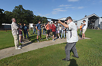 NWA Democrat-Gazette/FLIP PUTTHOFF <br />ON TARGET<br />Lonnie Robinson, a volunteer hunter education instructor for the Arkansas Game and Fish Commission, shows Bentonville High School outdoor education students on Wednesday Sept. 12 2018 the correct stance and form when shooting a shotgun. Students shot clay targets with 20 gauge shotguns during the lesson held at the Benton County Quail property near Centerton. The shotgun outing celebrated the students' hunter education certification they received through their outdoor ed class, said Tony Cherico, an outdoor education instructor at the high school. Shotguns, shells and clay targets were provided by Game and Fish.
