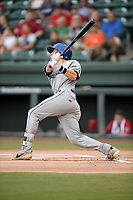 Left fielder Will Golsan (8) of the Asheville Tourists bats in a game against the Greenville Drive on Friday, August 23, 2019, at Fluor Field at the West End in Greenville, South Carolina. Greenville won, 11-1. (Tom Priddy/Four Seam Images)