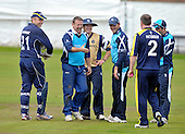 Cricket - Greenock XI v Cricket Scotland Presidents XI to celebrate Greenock CC's 150th Anniversary - at Glenpark - current and former Scotland International players played in the game including former Ranger goalkeeper Andy Goram - here celebrating a Bruce Patterson catch to give him a wicket - other players ar Dougie Lockhart - Neil McCallum - Gordon Drummond and Gordon Goudie - 26.8.12 - 07702 319 738 - clanmacleod@btinternet.com - www.donald-macleod.com