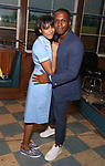 Nicolette Robinson and Leslie Odom Jr backstage after Nicolette Robinson makes her Broadway debut in 'Waitress' on September 4, 2081 at the Brooks Atkinson Theatre in New York City.