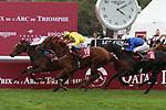 October 07, 2018, Longchamp, FRANCE - Enable with Frankie Dettori up winning the Qatar Prix de l'Arc de Triomphe (Gr. I) at  ParisLongchamp Race Course  [Copyright (c) Sandra Scherning/Eclipse Sportswire)]